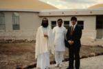 Brahmachari Nandkishore (L) and entourage at Radiance Dome, 1985